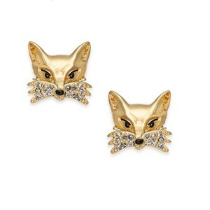 NWOT Kate Spade fox earrings with pavé accents